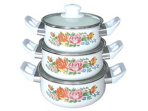 3pcs porcelain enamel casserole sets with bakelite handle