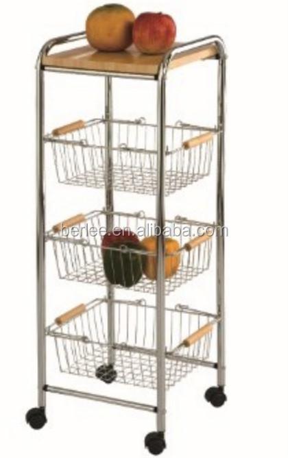 Awesome 4 Tier Kitchen Cart / Kitchen Storage Rack With 3 Basket