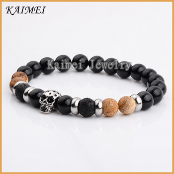 Top Fashion Elastic Black Onyx And Lava Rock Stone Stainless Steel Skull Bracelet Meaning