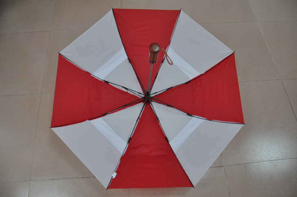 High Quality Windproof Automatic Double Layer Two Folding Umbrella With Wooden Handle