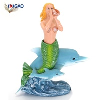 Best selling products new arrivals home decor custom size perfect blue sexy girls statues resin mermaid figurine with dolphin