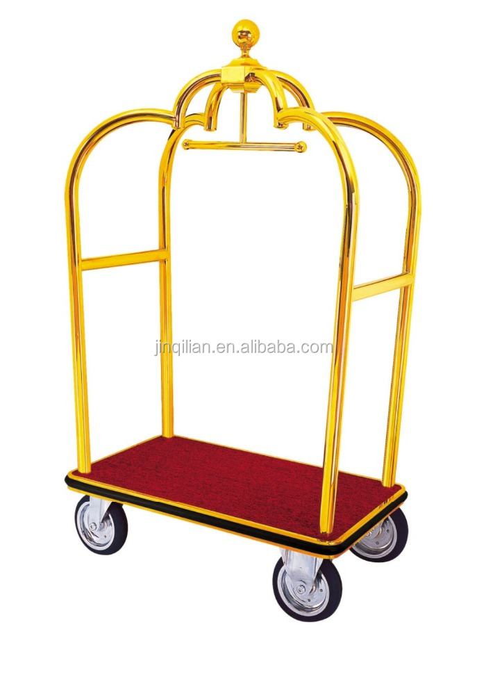 Hotel Luggage Trolley Luggage Cart Gold luggage cart