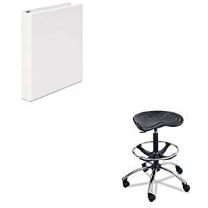 KITSAF6660BLUNV20962 - Value Kit - Safco Sit-Star Stool with Footring amp;amp; Caster (SAF6660BL) and Universal Round Ring Economy Vinyl View Binder (UNV20962)
