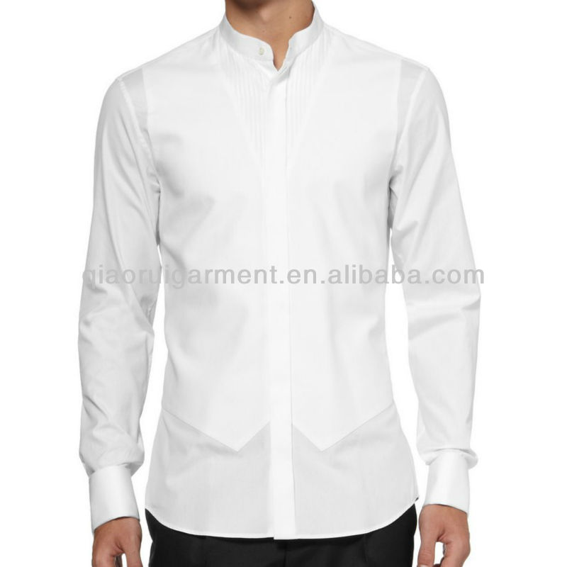 691656dd9498d Mens white mandarin collar pleated tuxedo shirt, View mandarin collar long  sleeve shirt men, Qiaorui Product Details from Yiwu Qiaorui Garment Co., ...