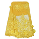 Yellow Beaded Lace Fabric feather lace material 3D flower French Lace with stones and beads FL0417