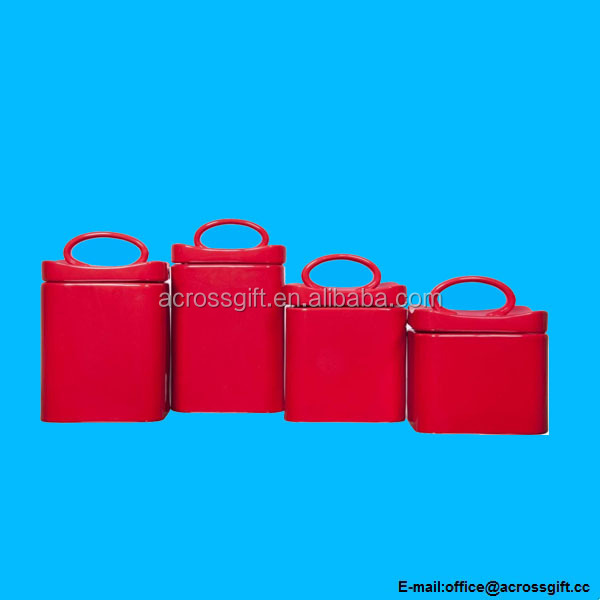 Square Red Ceramic Canisters with Lids Storage Home Decor Set