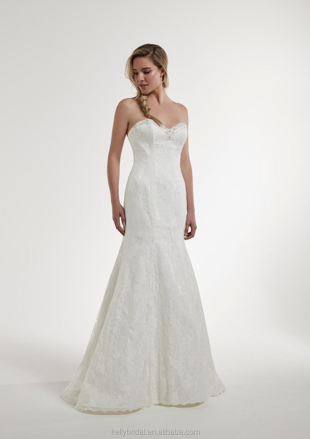 Zm16144 Beaded Lace Neck Line French Style Wedding Dress Custom Made ...