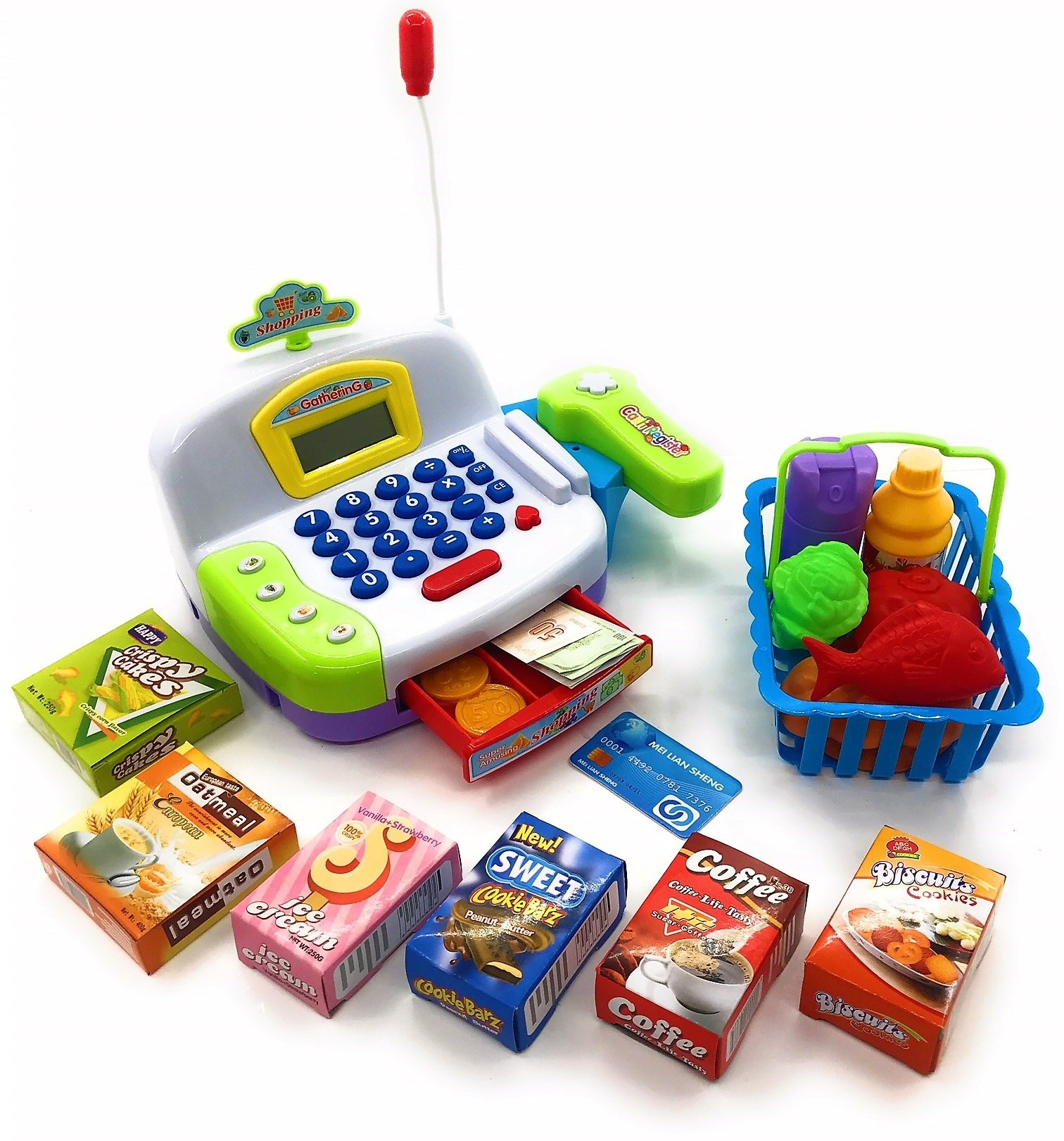 Toy Cash Register Cashier Playset Battery Operated, Kids Pretend Play Set ,Colorful Childrens Cash Register w/ Microphone, Scanner, Calculator, Play Money & Groceries /Kids Supermarket Cashier (Green)