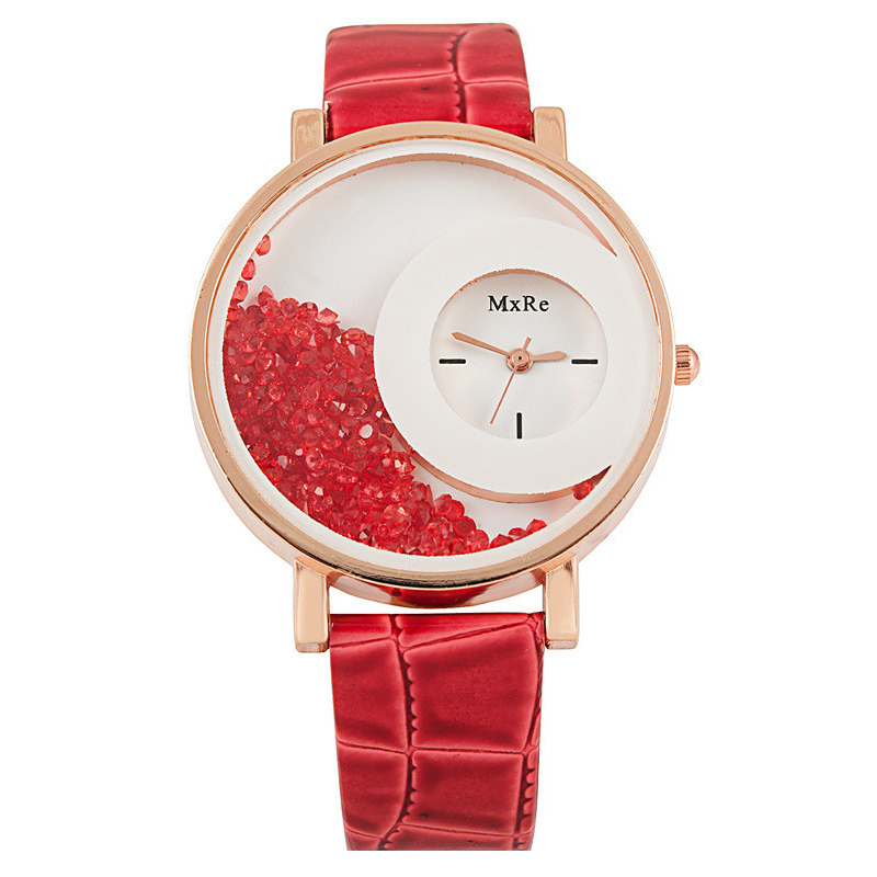 New Women Watches Fashion Casual Moving Beads Crystal Quartz Womens Dress Watch Leather Ladies Wristwatch montre femme n023