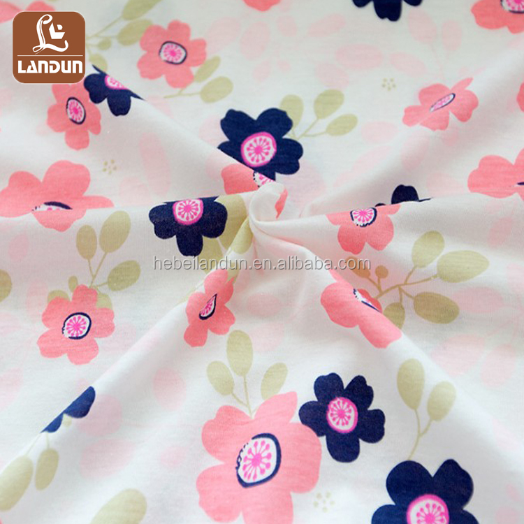 Hot Selling Flower Printed Cotton Knit Cloth
