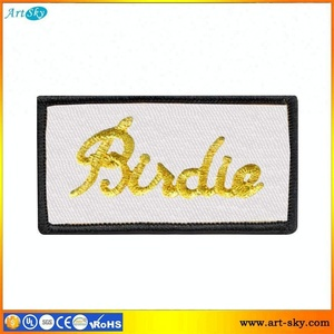 Artsky price list self-adhesive embroidery emblem applique iron-on embroidered patch patterns Birdie Text clothing logos