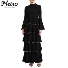 Fancy Women Long Flared Sleeves Ruffles Maxi Dress