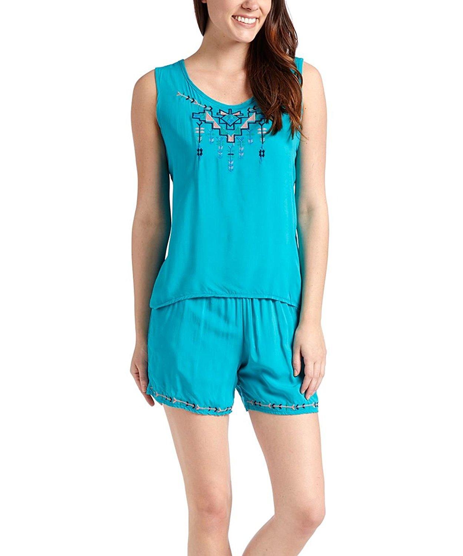 Universal Fashion Women's Tank Top Short Embroidered 2-Piece Set Summer Loungewear EMSE-004