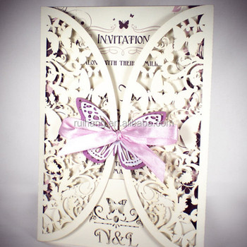 Romantic Ivory Laser Cut Cheap Wedding Invitation Card With Pink