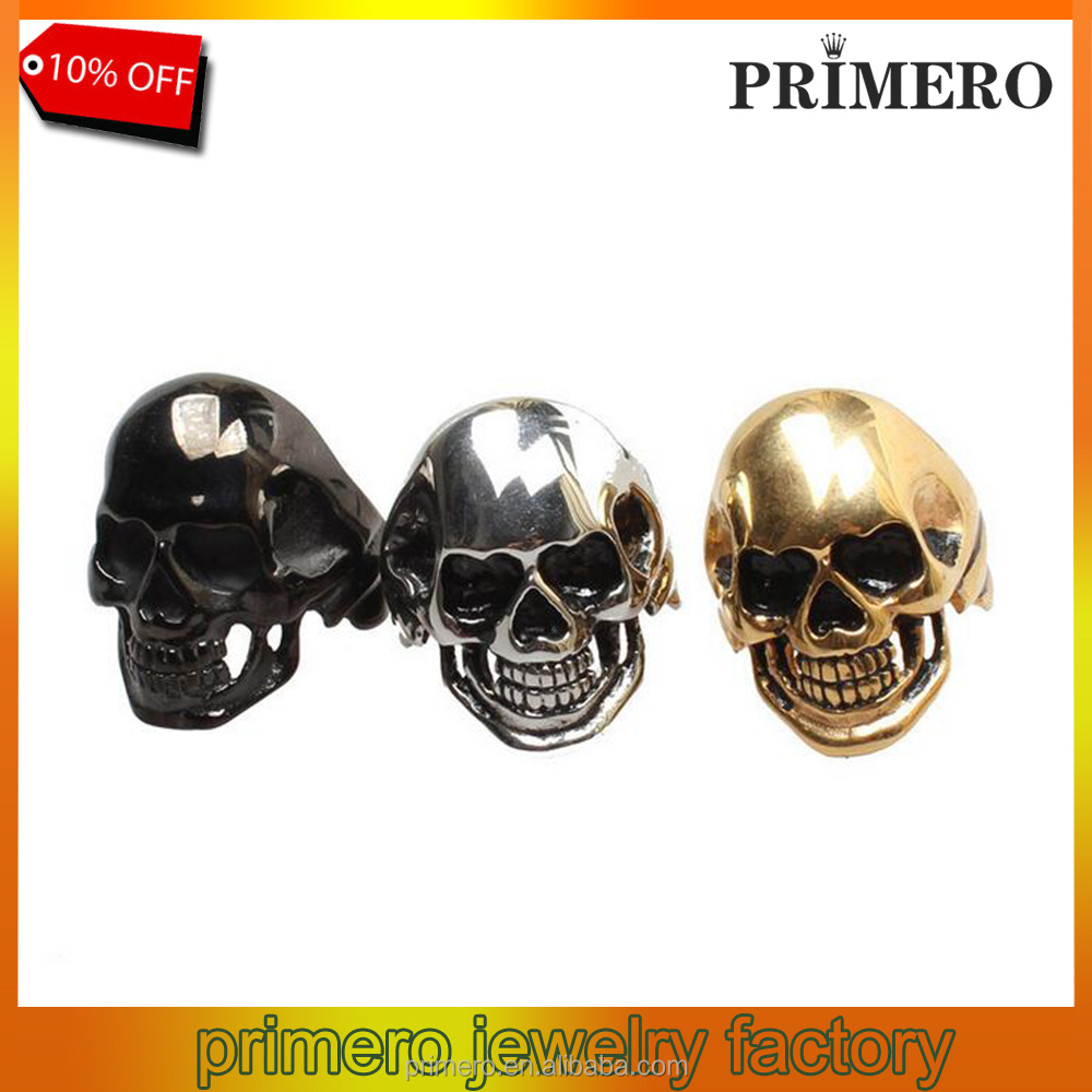 New Design Stainless Steel Black/Gold Skull Punk Titanium Steel Vintage Skeleton Rings
