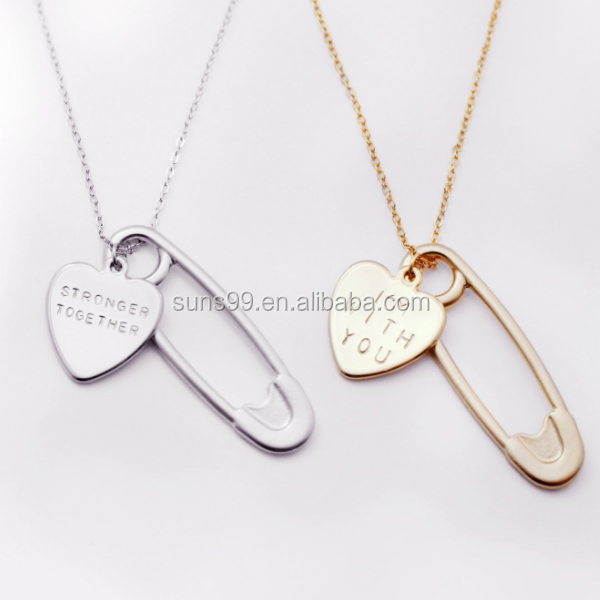 Safety Pin Jewelry Inspirational Necklace - Inspirational Her Be Brave Adventure Awaits Love Message Necklace Wholesale