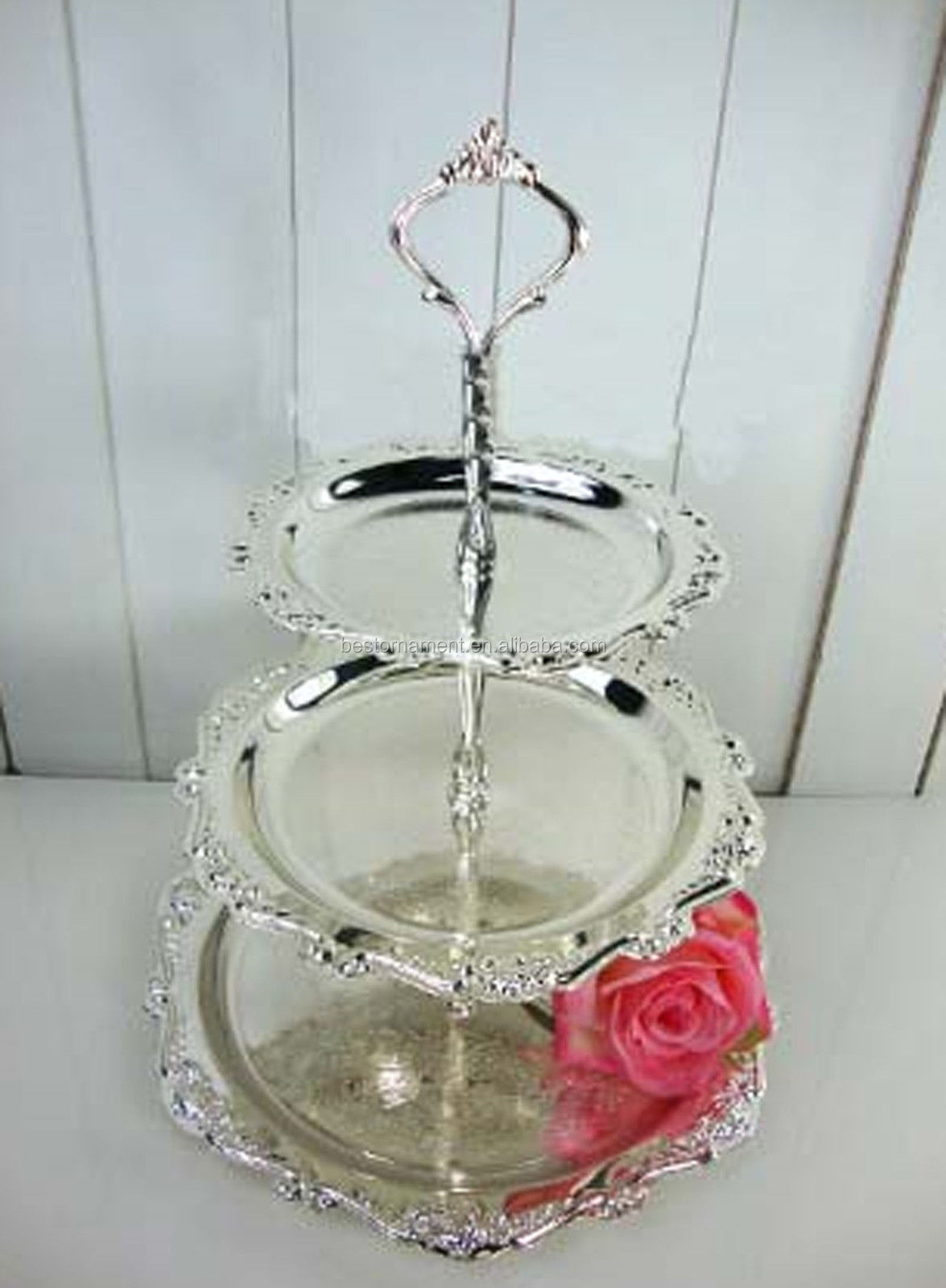 Silver Plated 3 Tier Cake Stand Plate Metal Hanging Product On Alibaba