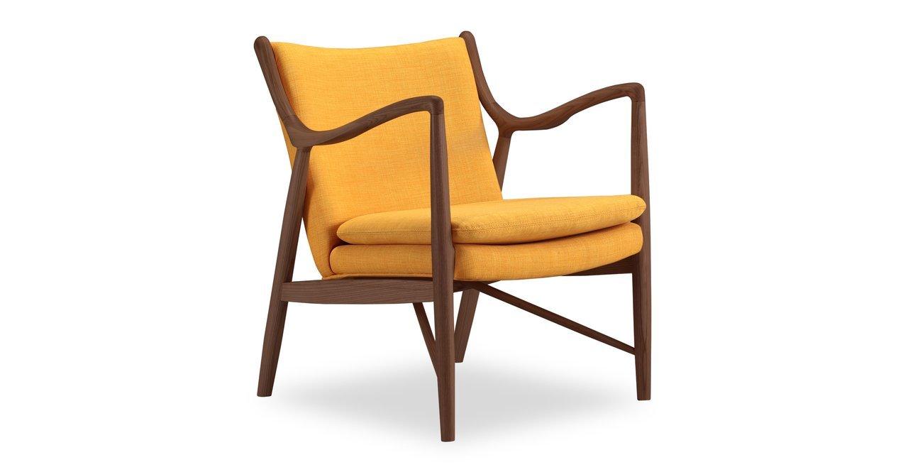 Kardiel Copenhagen 45 Mid-Century Modern Arm Chair, Citrine Twill/Walnut