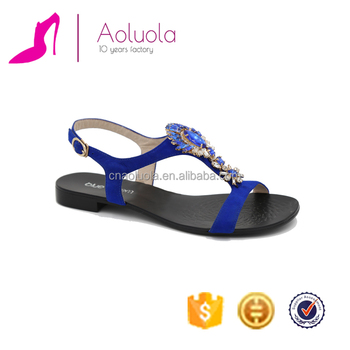 09a878aed9f36 Comfortable blue flat heel simple girls sandals shoes rhinestones  decoration kid suede