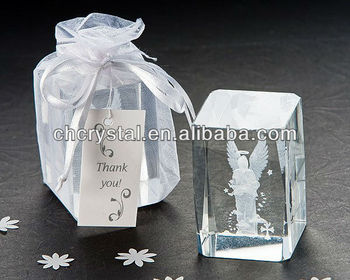 3d Laser Engraved Crystal Angel With Baby Crystal Mh F0280