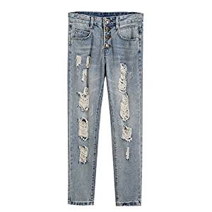 Woman's Jeans - SODIAL(R)Woman's New Fashion Summer Style Women Jeans ripped Holes Harem Pants Jeans Slim vintage boyfriend jeans for women(blue,China-31/US-10)