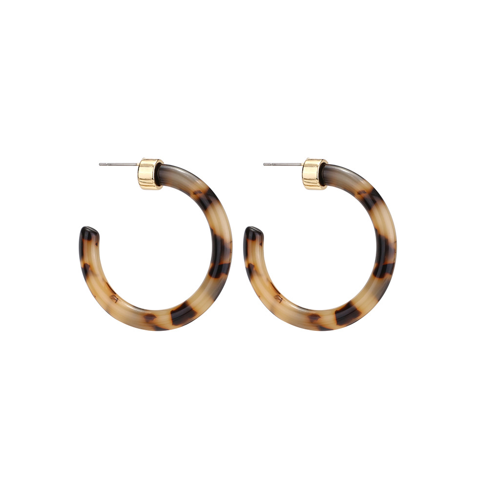 Luxury Trendy Tortoise shell Resin Acetate Hoop Earring Transparent C Shape Acrylic Hoop Earrings For Lady