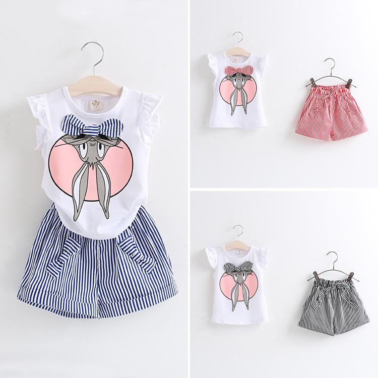 NEW hot High quality 2015 girl summer Set clothing girls bow bunny t shirts+pant children clothing set Kids Toddler Girl Clothes