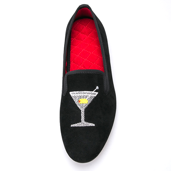 Wine Velvet Loafers with Glass Men Dress Shoes Embroidered a1RYxFvwq