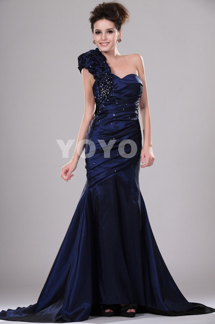 chic navy blue mermaid sweetheart one shoulder beading party pleated robe de soiree modern