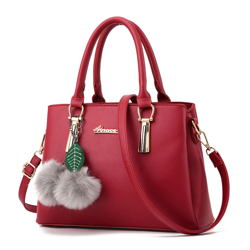 2017 Women Handbag Fashion Ladies Wine PU Leather Hand Bag With Pom Pom