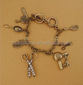 Hair Stylist Silver Charm Bracelet Scissor Metal
