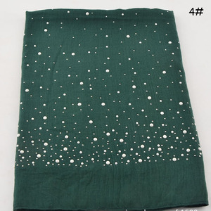 Fashionable solid color shinny scarf muslim women hijab viscose beaded scarf wholesale