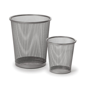 Office home household decorative round wire metal mesh dustbin waste paper bin