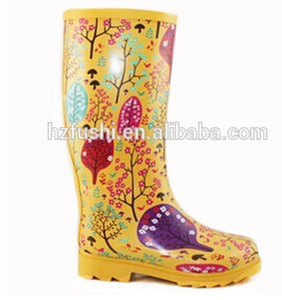 Yellow print flower lady rubber rain boot