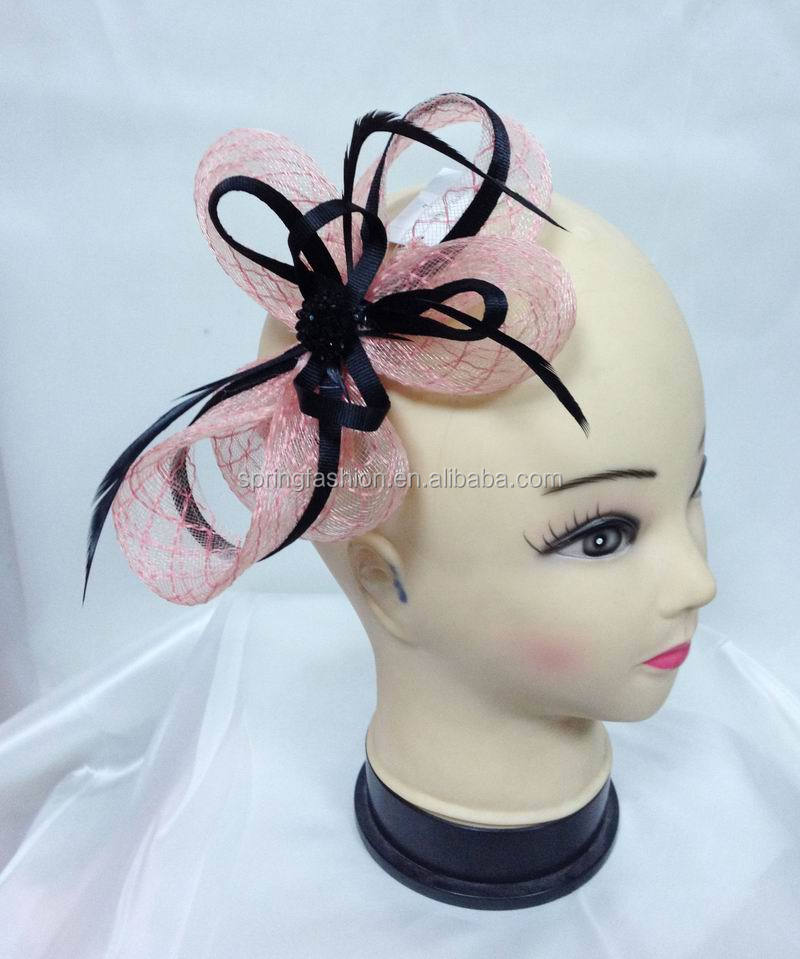 Vintage Pink black Net Fascinator On Hair Clip - Buy Fascinator ... 6323f8ab814