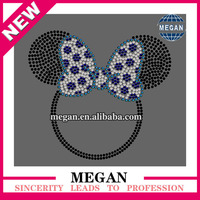Charming trimming cheer bow ring rhinestone transfer for dresses