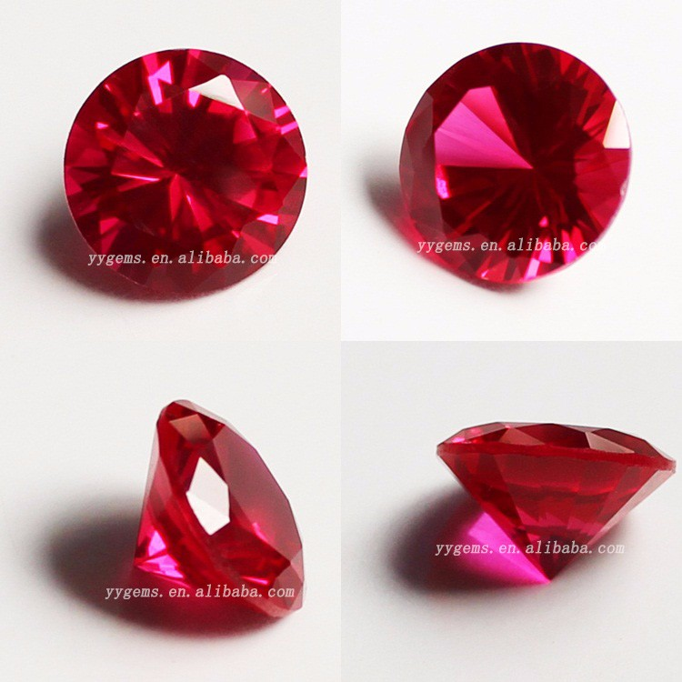 Lab Created Ruby Corundum Round Brilliant Cut Ruby Fake Gemstone