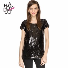 HAODUOYI Women Black Shining Sequin T shirts Short Sleeve Slim Tees for Wholesale