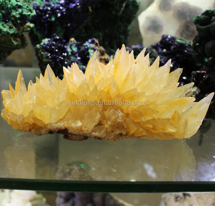 Natural High Quality Yellow Citrine Quartz Crystal Ornaments Cluster