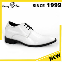 Brazil Top Layer Cow Leather Hidden High Heels 2.5 Inches Teller White Wedding Shoes Men