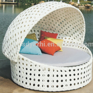 round rattan daybed outdoor furniture patio sun lounger