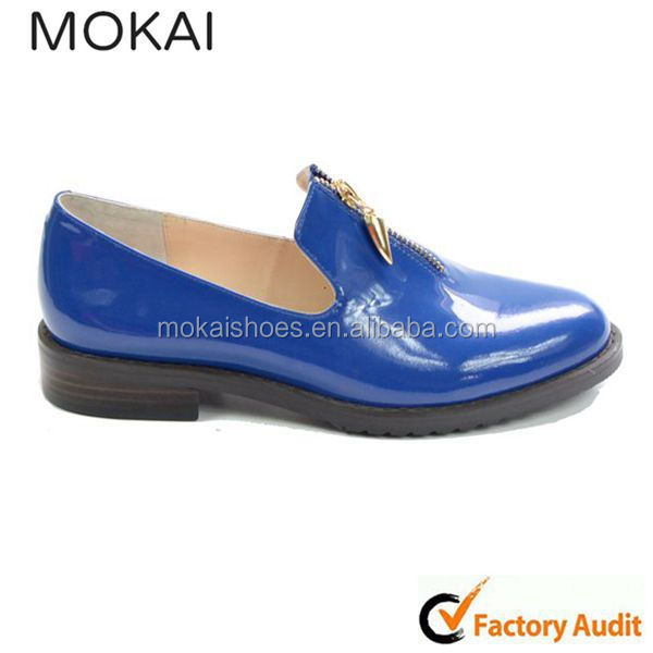 MK001-12-Blue patten leather comfort footwear for girls, handmade ladies safety shoes, unique design casual shoes
