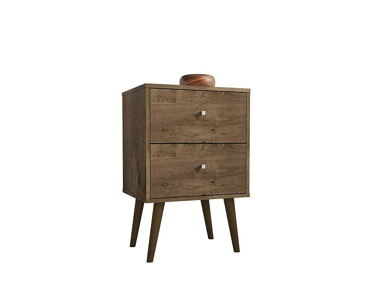 Mid Century Modern 2 Drawer Nightstand with Solid Wood Splayed Legs (Rustic Brown)