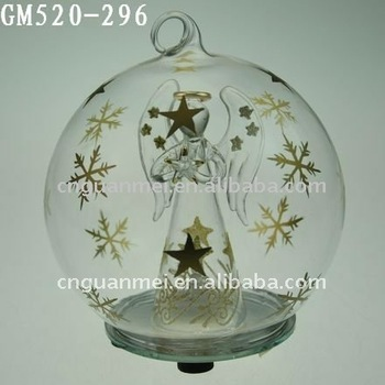 Christmas Angel Glass Globe With Led Light With Golden Snowflake ...