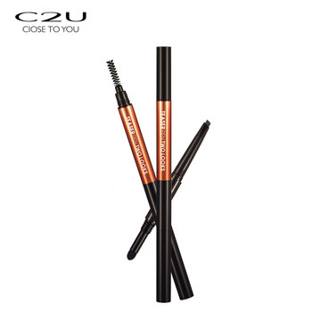 C2U longlasting multi-function cushion flat private label waterproof 3 in 1 eyebrow pencil