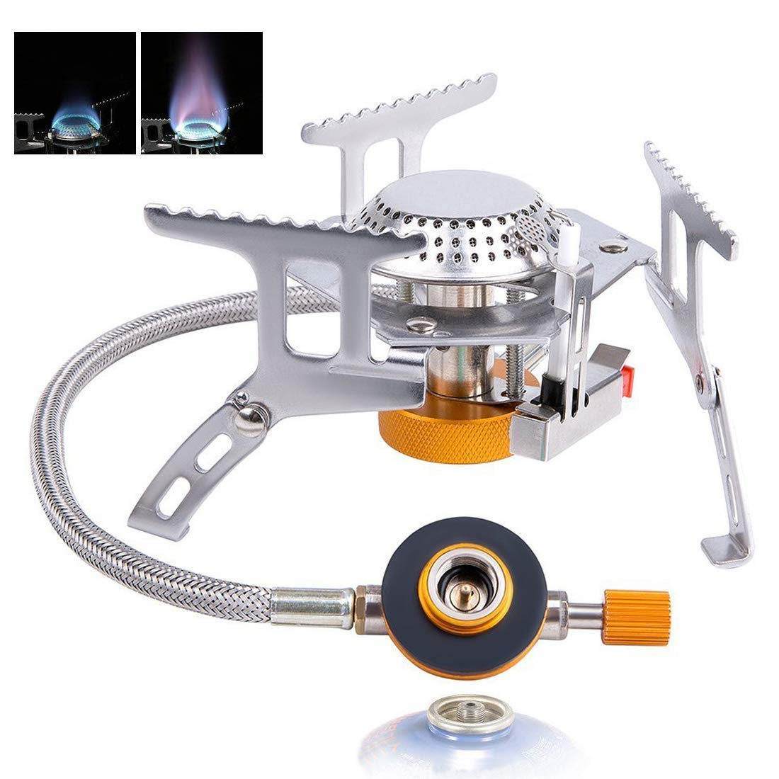 VOUMEY Camping Gas Stove,Portable Camping Gas Stove with Convenient Piezo Ignition,Foldable Split Furnace Stove Cooking Burner with Carry Case Box