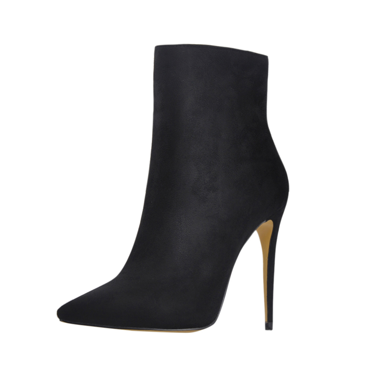 Hot pointed toe black lady <strong>boot</strong> with 12cm stiletto high heel for party dress
