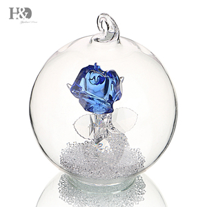 H&D Blue Rose Crystal Figurines With Clear Diamond Cut Beads Ornament Souvenir Home Wedding Decor Birthday gift