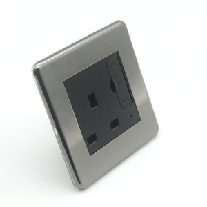 black color metal panel UK standard wall socket with double USB 5V 2.1A