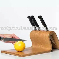wooden stainless steel new idea kitchen knife board block set factory supply